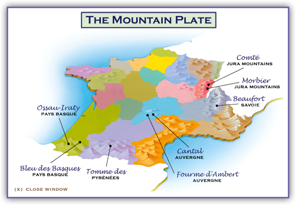Mountain Map Of France.The Mountain Plate French Cheese Tasting Platter Cheeses Of France